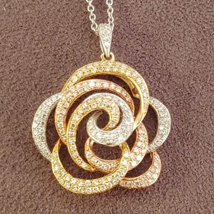 EFFY Trio 14k Tri-Color Gold Diamond Flower Pendan